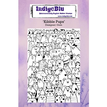 IndigoBlu Cling Stamp KIBBLE PUPS Rubber IND0233*