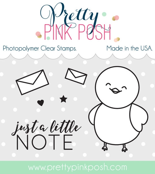 Pretty Pink Posh BIRDIE NOTES Clear Stamp Set  zoom image