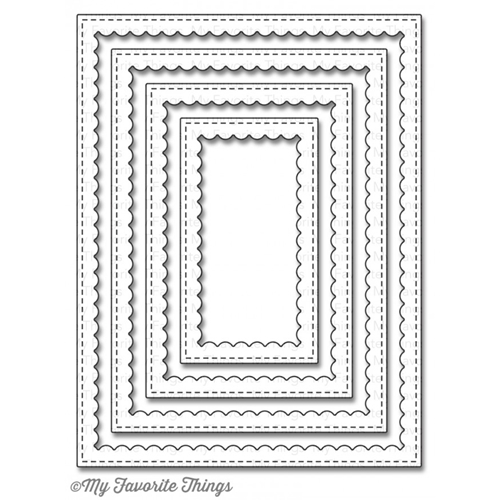 My Favorite Things STITCHED RECTANGLE SCALLOP FRAMES Die-Namics MFT860 Preview Image