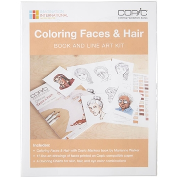 Copic Marker COLORING FACES AND HAIR Book And Line Art Kit CBFACEKT