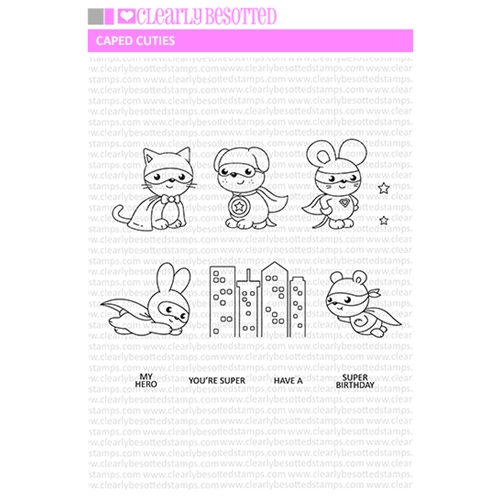 Clearly Besotted CAPED CUTIES Clear Stamp Set Preview Image