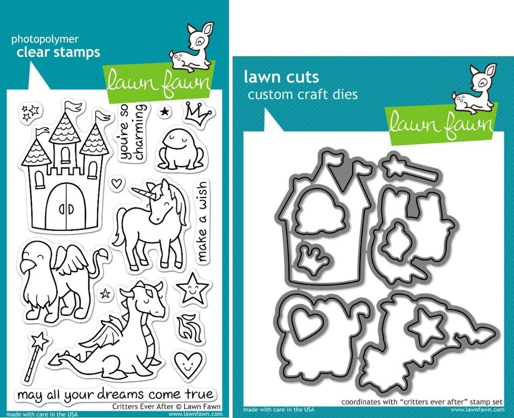 Lawn Fawn SET LFSETCEA CRITTERS EVER AFTER Clear Stamps and Dies zoom image