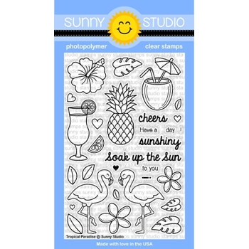 Sunny Studio TROPICAL PARADISE Clear Stamp Set SSCL 129