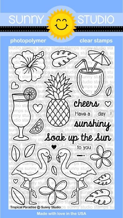 Sunny Studio TROPICAL PARADISE Clear Stamp Set SSCL 129 zoom image