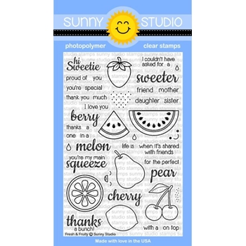 Sunny Studio FRESH AND FRUITY Clear Stamp Set SSCL128