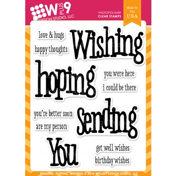 Wplus9 SENDING HOPING WISHING Clear Stamps CLWP9SHW