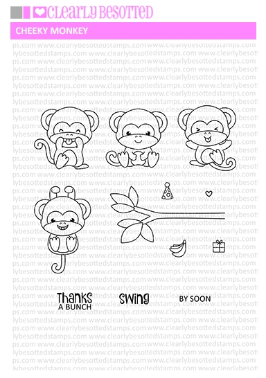 Clearly Besotted CHEEKY MONKEY Clear Stamp Set zoom image