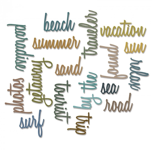 Tim Holtz Sizzix VACATION WORDS SCRIPT Thinlits Die 661288 zoom image