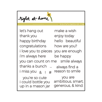 Right At Home TINY SENTIMENTS Clear Stamp 688128