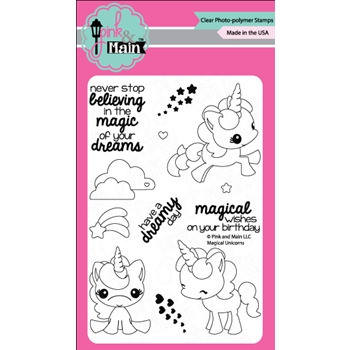 Pink and Main MAGICAL UNICORNS Clear Stamp Set PM0180*