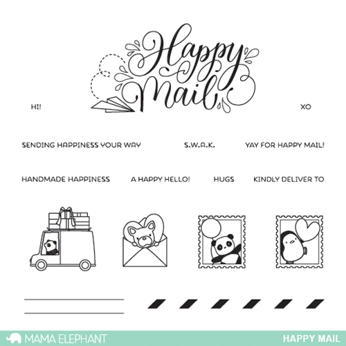 Mama Elephant Happy Mail Clear Stamp Set