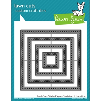 Lawn Fawn SMALL CROSS-STITCHED SQUARE STACKABLES Lawn Cuts Dies LF1183