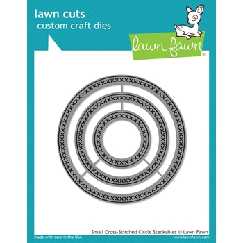 Lawn Fawn SMALL CROSS-STITCHED CIRCLE STACKABLES Lawn Cuts Dies LF1181