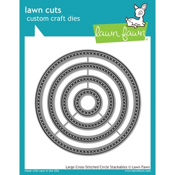 Lawn Fawn LARGE CROSS-STITCHED CIRCLE STACKABLES Lawn Cuts Dies LF1180