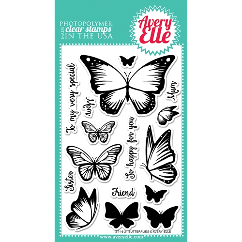 Avery Elle Clear Stamp BUTTERFLIES Set ST-16-21 Preview Image