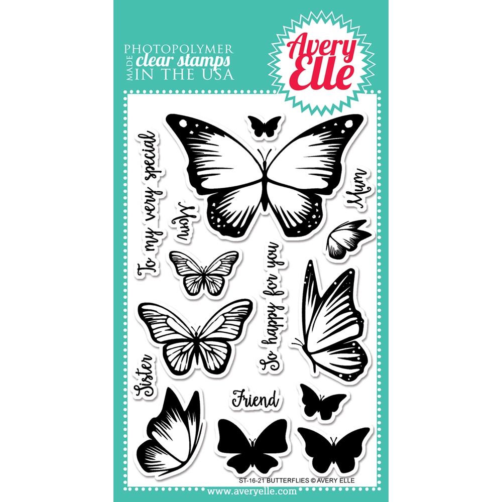 Avery Elle Clear Stamp BUTTERFLIES Set ST-16-21 zoom image
