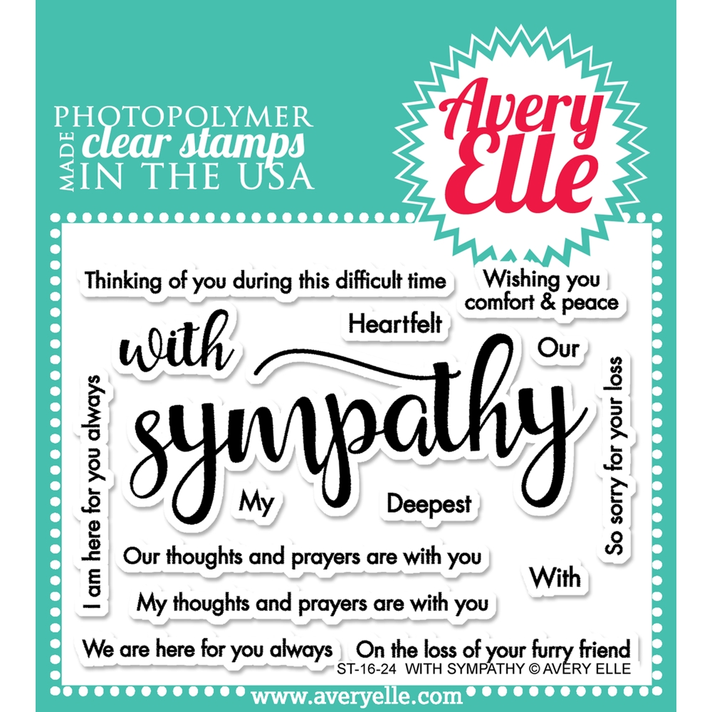 Avery Elle Clear Stamp WITH SYMPATHY Set ST 16 24 zoom image