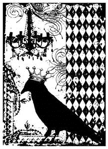 Tim Holtz Rubber Stamp BLACKBIRD COLLAGE Stampers Anonymous P4-1320