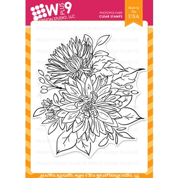 Wplus9 BEAUTIFUL BOUQUET MUMS Clear Stamps CLWP9BBM