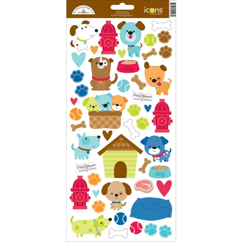 Doodlebug PUPPY LOVE Icons Cardstock Stickers 5248 Preview Image