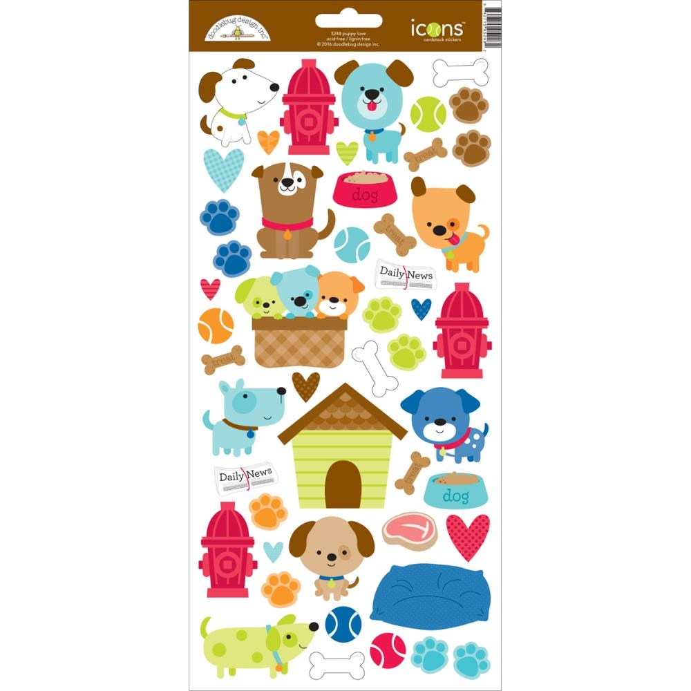 Doodlebug PUPPY LOVE Icons Cardstock Stickers 5248 zoom image