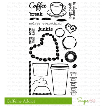 SugarPea Designs CAFFEINE ADDICT Clear Stamp Set SPD00015