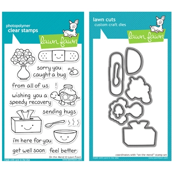 Lawn Fawn SET LFSETOTM ON THE MEND Clear Stamps and Dies
