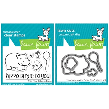 Lawn Fawn SET LFSETYF YEAR FOUR Clear Stamps and Dies