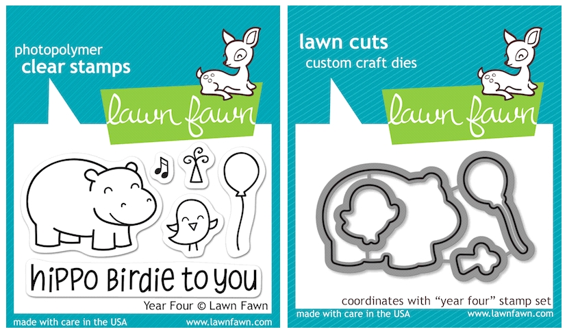 Lawn Fawn SET LFSETYF YEAR FOUR Clear Stamps and Dies zoom image