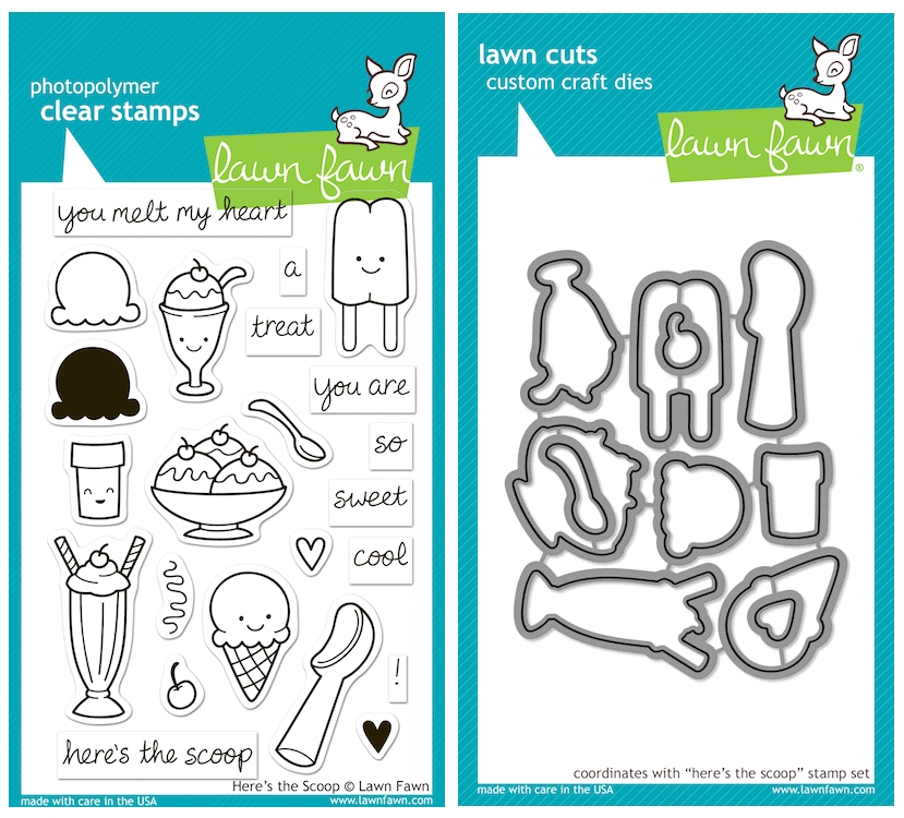 Lawn Fawn SET LFSETHTS HERE'S THE SCOOP Clear Stamps and Dies zoom image
