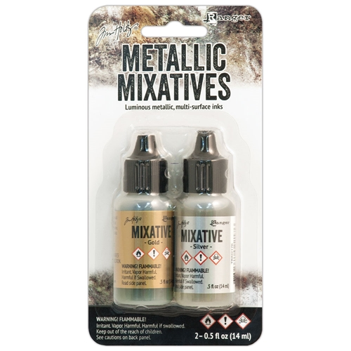 Tim Holtz Alcohol Ink Set GOLD AND SILVER Metallic Mixatives Ranger TIM21247 Preview Image