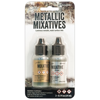 Tim Holtz Alcohol Ink Set GOLD SILVER Metallic Mixatives Ranger TIM21247