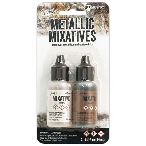 Tim Holtz Alcohol Ink Set PEARL AND COPPER Metallic Mixatives Ranger TIM21254 Preview Image