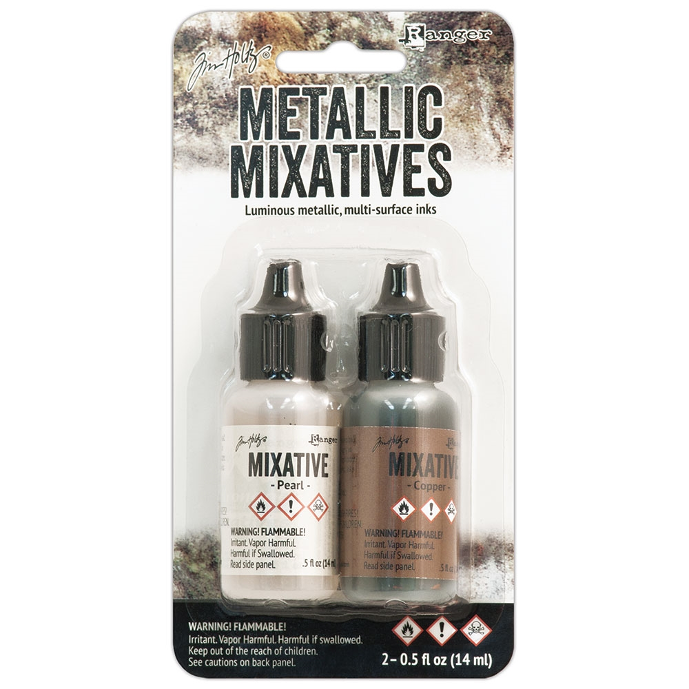 Tim Holtz Alcohol Ink Set PEARL AND COPPER Metallic Mixatives Ranger TIM21254 zoom image
