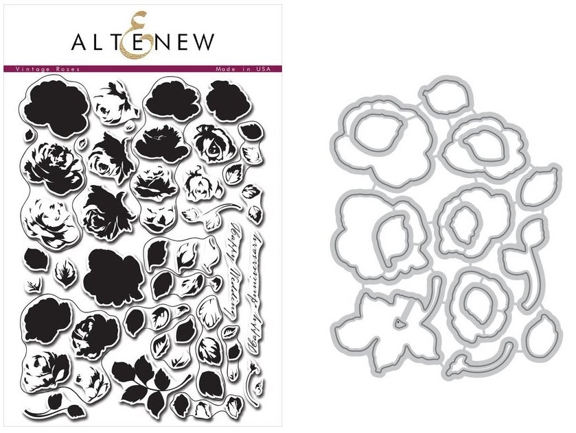 Altenew VINTAGE ROSES Clear Stamp and Die BUNDLE ALT5017 zoom image