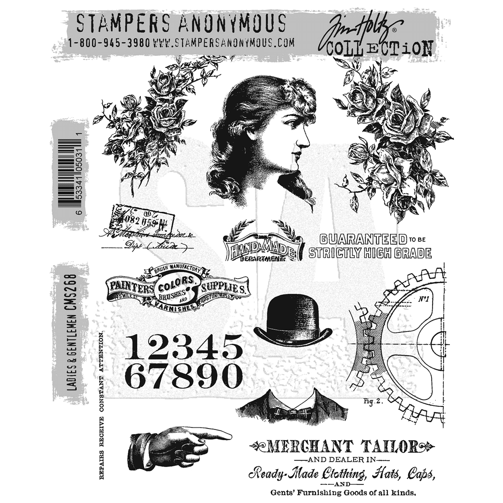 Tim Holtz Cling Rubber Stamps LADIES AND GENTLEMEN CMS268 zoom image