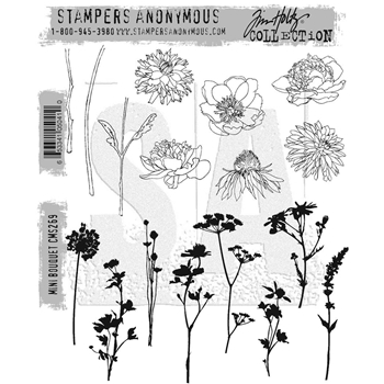 Tim Holtz Cling Rubber Stamps MINI BOUQUET CMS269