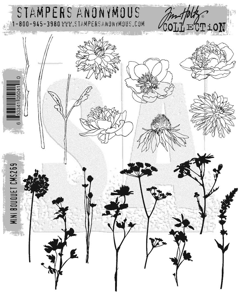 Tim Holtz Cling Rubber Stamps MINI BOUQUET CMS269 zoom image