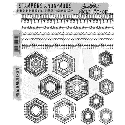 Tim Holtz Cling Rubber Stamps PATCHWORK PIECES CMS270 Preview Image