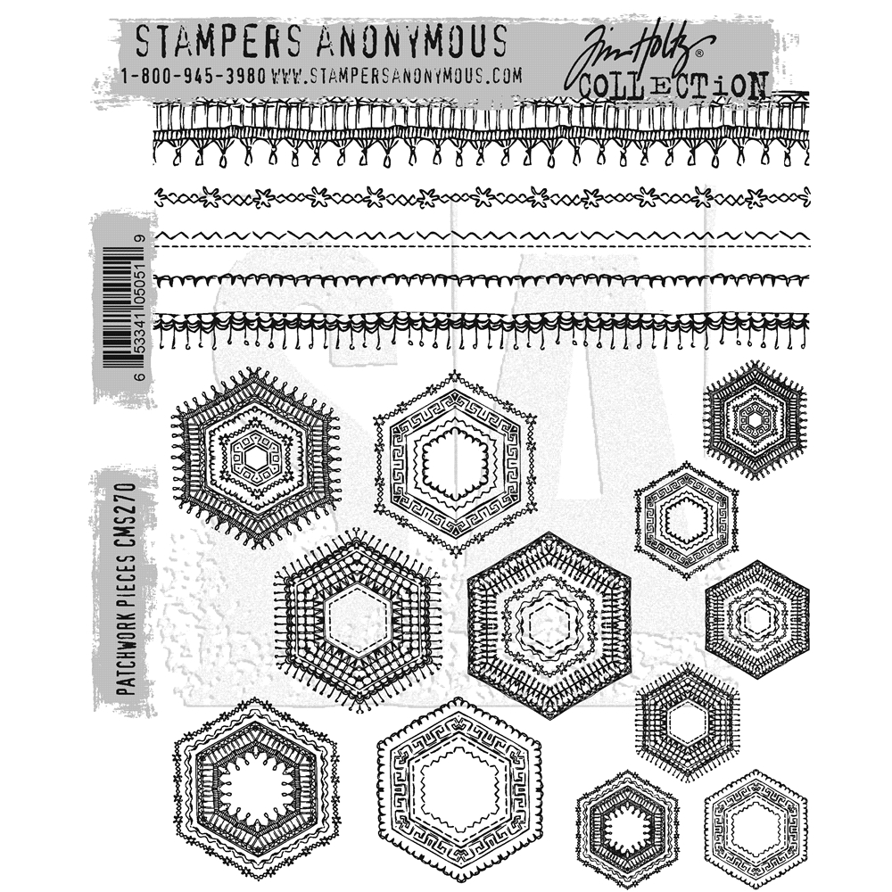 Tim Holtz Cling Rubber Stamps PATCHWORK PIECES CMS270 zoom image