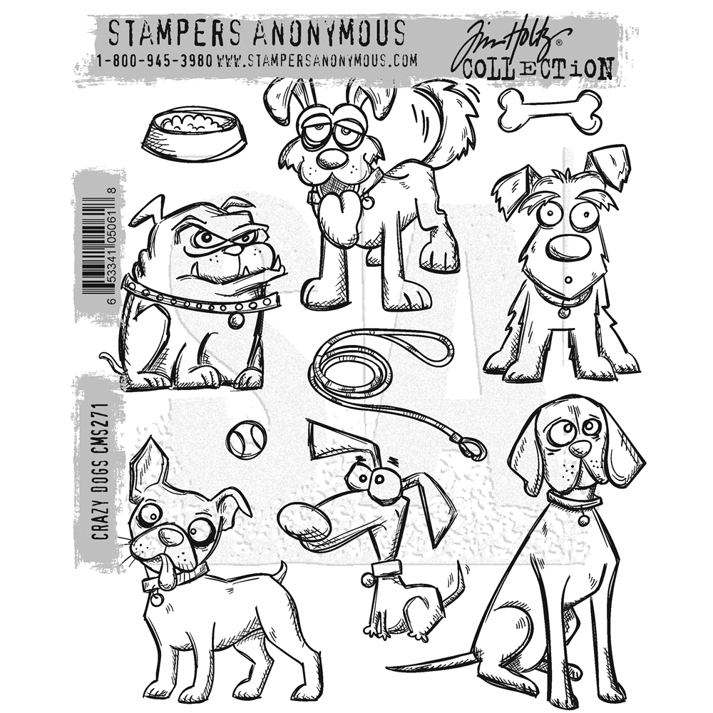 Tim Holtz Crazy Dogs Cling Stamp Set
