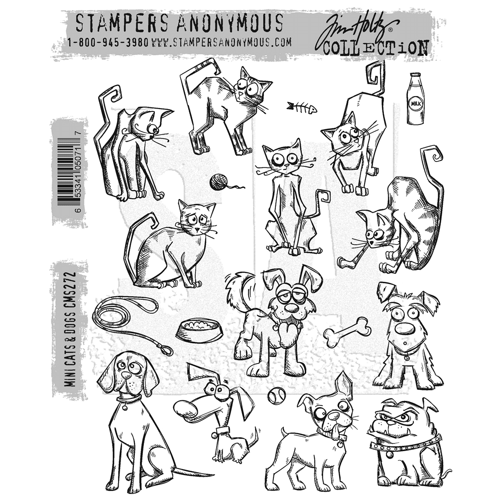 Tim Holtz Mini Crazy Cats and Dogs Cling Stamp Set