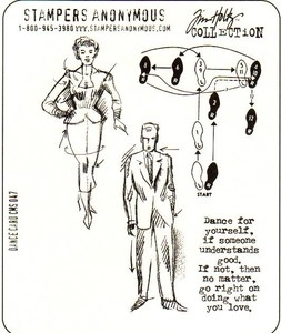 Tim Holtz Cling Rubber Stamps Set DANCE CARD CMS047 Preview Image