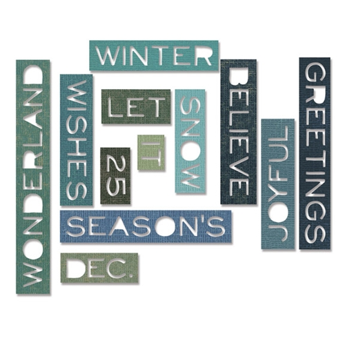 Tim Holtz Sizzix HOLIDAY WORDS THIN Thinlits Die 661600 Preview Image