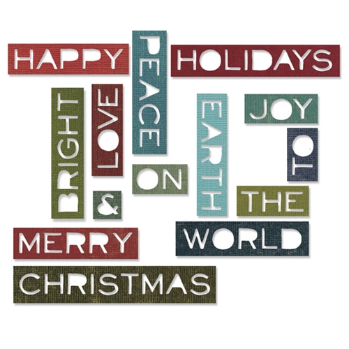 Tim Holtz Sizzix HOLIDAY WORDS 2 THIN Thinlits Die 661601 Preview Image