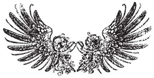 Tim Holtz Rubber Stamp TATTERED WINGS Stampers Anonymous U3-1217 zoom image