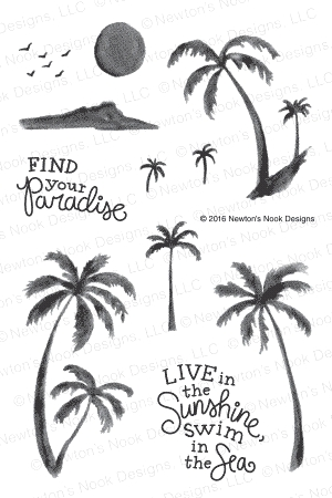 Newton's Nook Designs PARADISE PALMS Clear Stamp Set 20160705 zoom image