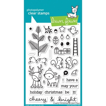 Lawn Fawn CHEERY CHRISTMAS Clear Stamps LF1216
