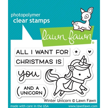 Lawn Fawn WINTER UNICORN Clear Stamps LF1218
