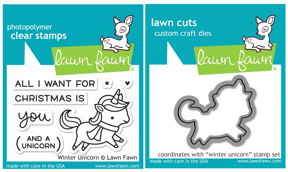 Lawn Fawn SET SULF16SETWU WINTER UNICORN Clear Stamps and Dies zoom image